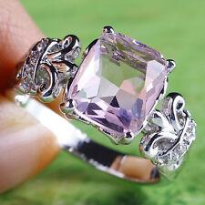 Bridal Emerald Cut Pink & White Topaz Gemstone Silver Ring Sz 10 Free Shipping