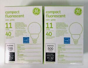 GE 89629 Compact Fluorescent 11w Mini Globe Lightbulb, Lot of 2