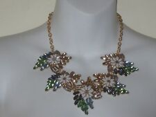 Lee Angel Green Blue Crystal Flower Cabochon Fab Necklace NIP $100