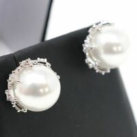 12mm Round Akoya Pearl Stud Earrings Women Jewelry Gift 14K White Gold Plated