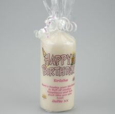 Personalised Happy Birthday Candle with Hat and Cakes - gift wrapped