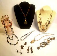 Jewelry Lot Brown Tan Lia Sophia Avon NY Natural Necklaces Pierced Earrings