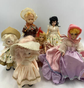 Mixed Lot of 6 Small Antique/Vintage Dolls Plastic/Celluloid