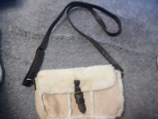 BEIGE  FAUX FUR FAUX SHEEPSKIN LONG HANDLES BAG