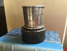 ANTIQUE STERLING SILVER COLLAPSIBLE BEAKER CUP  FOLDING CUP WITH LEATHER HOLDER