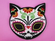 Day of the Dead Mexican Iron On Patch Cat Horror Goth PinUp Rockabilly 50s Pagan