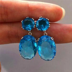 4 Colors Gorgeous Drop Earrings Women 925 Silver Jewelry Cubic Zircon A Pair/set