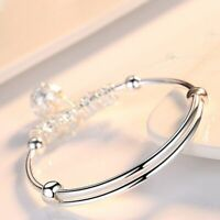 Fashion Charm Women Jewelry 925 Sterling Silver Plated Cuff Bangle Bracelet Gift