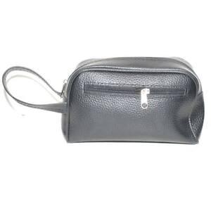 Pochette uomo a mano nero semitonda con zip e chiusura a portafoglio comodo port