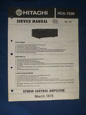 HITACHI HCA-7500 CONTROL AMP SERVICE MANUAL ORIGINAL FACTORY ISSUE