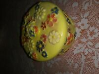 Vintage? Yellow with Painted, Molded, Flowers, Bee, Lid, Trinket Box, Dish