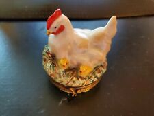 Rochard Hand Painted Limoges France Trinket Box- Mother Hen with Chicks