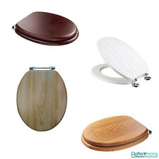 Croydex Adjustable Wooden Toilet Seat ; Anti-Bacterial ; Chrome/Brass Hinges WC