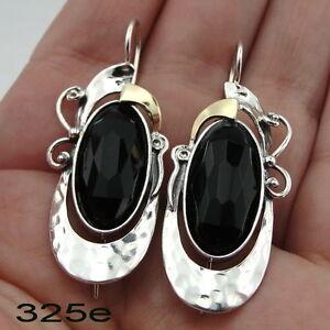 Onyx earrings, long silver earrings, Silver and Gold earrings, Dangle earrings