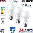 12 Pack Philips 9W B22 LED Bulbs GLS A60 Bayonet Cap Bulb Frosted 806lm 2700k