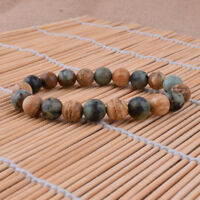 African Turquoise Picture Stone Bracelet Wristbands Stretch Beaded Bangle Gift