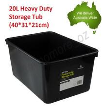 20L Heavy Duty Storage Tubs Black Plastic Containers Crate Bin Boxes Litre NEW