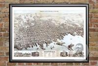 Vintage New Bedford, MA Map 1876 - Historic Massachusetts Art - Old Industrial