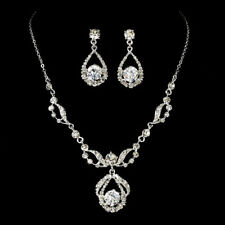 Silver Bridal Jewelry Set Necklace and Earrings Set Clear Rhinestones