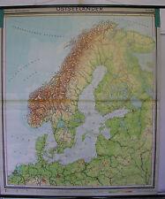 Schulwandkarte map Ostsee Baltic Schweden Norwegen Danmark Skandinavien 180x210