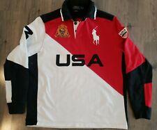 Vtg Ralph Lauren Polo Mens Rugby Shirt Sz L Color Block Team USA Long Sleeve