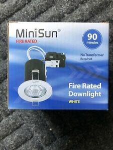 10x MINISUN Fire Rated GU10 Metal Downlight In White Painted Gloss Finish 17069
