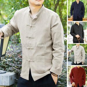 Mens 100%Cotton Long Sleeve Shirt Tang Chinese Kung-Fu Style Blouse Tee Uniform
