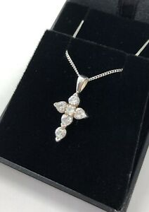 CRYSTAL CROSS PENDANT + STERLING SILVER 925 CHAIN NECKLACE CHILD + ADULT SIZES