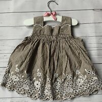 Girls 2 Years - Blouse Top GAP Brown White Stripe Broderie Anglaise Summer Lace