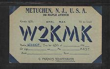 194x W2KMK QSL CARD USED METUCHEN NJ USA
