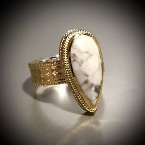 SOLD OUT! ANNA BECK 18K GOLD PLATED STERLING SILVER HOWLITE TEARDROP RING SIZE 8
