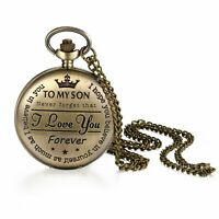 "Mens ""TO MY SON, I LOVE YOU FOREVER""Analog Quartz Movement Pocket Watch Necklace"