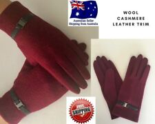 Women's Wool Cashmere Burgundy Leather Trim M/L Winter Fashion Gloves Free Post