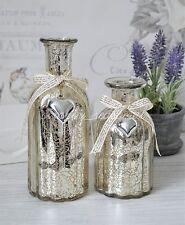 Two shabby chic decorative glass mercury bottles bottle vase silver heart charm