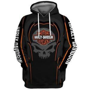 Motorrad Skull Harley Davidson Motiv Kapuzen Sweatshirt Hoodie Pullover Pulli