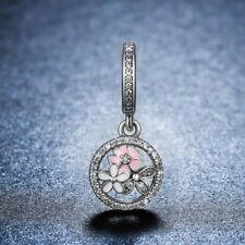Stunning S925 Silver Poetic Bloom Dangle Charm With Cubic Zirconia Studs