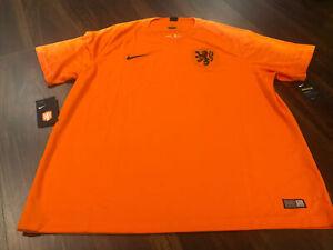New Nike Netherlands National Team Mens Soccer Breathe Jersey Size 2XL Orange