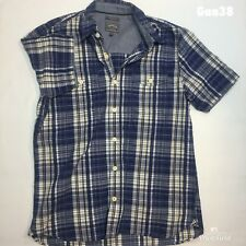 "Mens Fat Face Blue Check Short Sleeve Shirt Classic Fit M P-P 21"" Length 27"""