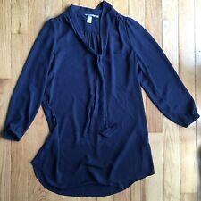 H&M Sheer Navy Blue Long Sleeve Shirt Pussybow Dress Size 14
