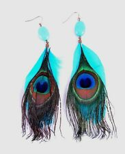 New Pair of Teal and Peacock Feather Earrings with Turquiose Stone #E1176