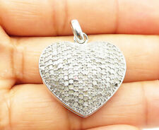 925 Silver - 1 Carat Genuine Diamonds Love Heart Locket Pendant (OPENS) - P7748