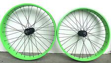 """26"""" x 4.0 Rear & Front Fat Wheels 7 speed 36 spokes Disc Brake Neon Green"""