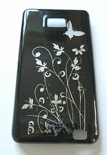 Samsung Galaxy S2 i9100.Hard Case/Cover BLACK with silver flowers/butterflies