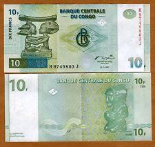 Congo D.R., 10 Francs, 1997, P-87 (87B), UNC > Scarce