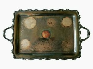 Webster Wilcox American Rose Silver Plated Serving Tea /Serving Tray #7391 *