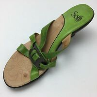 Sofft Sandals Green Leather Horsebit Slide Sandal Shoes Womens 9 N Casual Dress