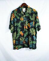 BANANA CABANA Men's Shirt Button Down Short Sleeve Hawaiian 100% Silk Size M