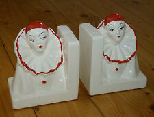 1970er Pärchen  PIERROT CLOWN Buchstützen weiß/rot - Art Deco Style - Keramik