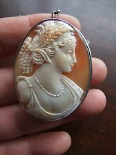 Antique Victorian Cameo Silver Brooch