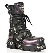 Newrock New Rock 591-S5 Purple Flame Metal Black Leather Heavy Punk Gothic Boots